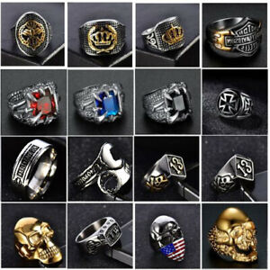Solid 316L Stainless Steel Gothic Punk Motorcycle Biker Skull Ring Mens Jewelry