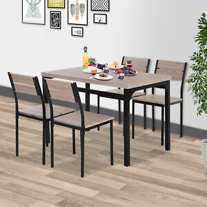 5pcs Wooden Bar Dining Set Counter Height Table Chair Home Furniture Kitchen $175.99