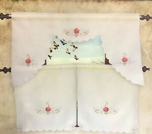 3PC EMBROIDERED KITCHEN CURTAIN ROD POCKET SOLID IVORY W/ RED FLOWERS 60'' WIDE