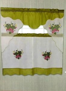 3PC EMBROIDERED KITCHEN CURTAIN ROD POCKET SOLID IVORY/GREEN W/ GRAPES 60''WIDE