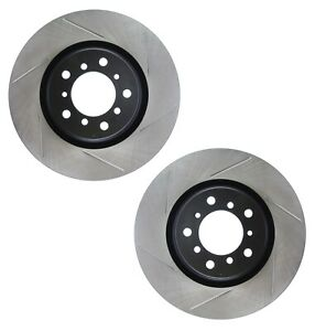 Pair Set 2 Front Stoptech Slot Disc Brake Rotors for BMW E46 No Competition Pkg