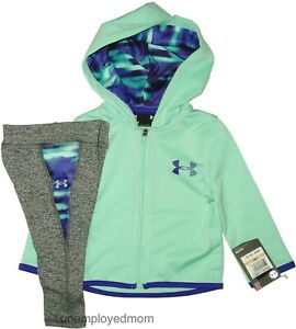 Under Armour Hoodie Legging Pants 2 pc Set Baby Girls Jacket Outfit Athletic UA
