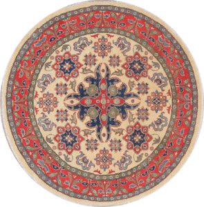 Traditional Floral IVORY Super Kazak 7 ft Round Area Rug Hand-made Oriental 7x7