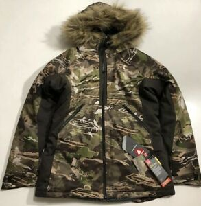 UNDER ARMOUR WOMEN'S LARGE COLDGEAR SIBERIAN CAMO HUNT FULL ZIP HOOD JACKET NWT