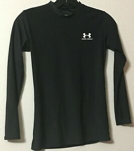 Boys Under Armour Shirt Youth Large Black Long Sleeves Polyester Elastane Washes