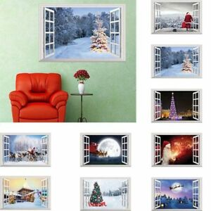 US! Christmas Santa Window Home Decor Large Removable 3D Xmas Sticker Wall Decal