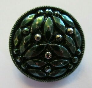 Fabulous Antique~ Vtg Faceted Black GLASS BUTTON Silver & Green Luster 78