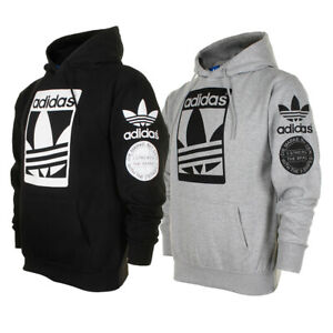 Adidas Men#x27;s Original Trefoil Street Graphic Front Pocket Active Pullover Hoodie