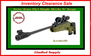 Swiss Arms TG-1 Break Barrel Air Rifle with Scope - Deep Army Green- 1400 FPS