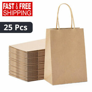 Retail Shopping Kraft Gift Bags Brown Paper With Handles 5x4x8  25 Pcs