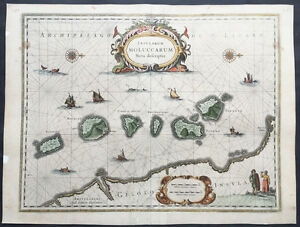 1633 Jansson Original Antique Map of Maluku Islands Indonesia The Spice Islands