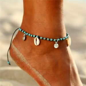 Fashion Turquoise Beaded Shell Anklet Bracelet Women Chain Ankle Beach Jewelry