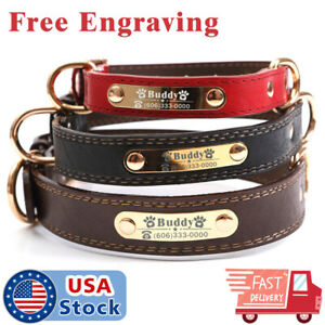PU Personalized Dog Collars Name ID Collar with Nameplate Engraved XS XL $10.98