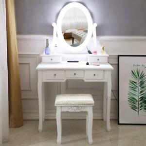 10 LED Lighted Mirror Vanity Table Set Makeup Dressing Desk 5 Drawers Wood