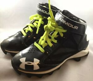 Kids Under Armour Cleats Shoes Armour Bound Black White Lime Green Size 13K