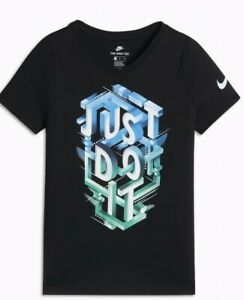NWT Nike Girls Short Sleeve Just Do It Shirt Size Small Black Athletic Cut $11.00