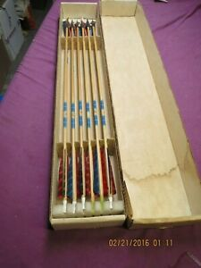 12 Vintage Feline Wooden Arrows 8 with Hilbre Broadheads 29 Inches