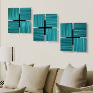 Set of 3 Square Wall Sculptures Large Aqua Wall Art Accents for Home Office $175.20