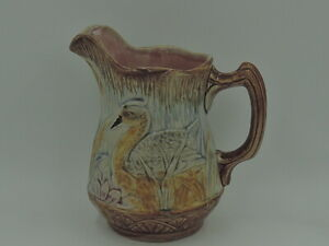Antique French Majolica Pitcher w/Ducks Pink Interior Jug 1880's
