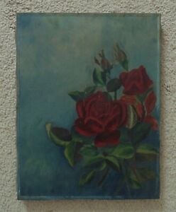 19th c. Victorian Roses Painting Still Life Oil on Canvas Flowers Floral