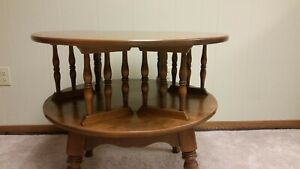 ETHAN ALLEN FURNITURE ROUND REVOLVING BOOK TABLE ACCENT TABLE