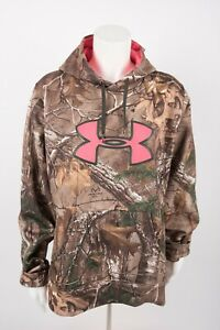 Under Armour Women's Hoodie Large Camo Camoflauge Real Tree Big Logo Semi fitted