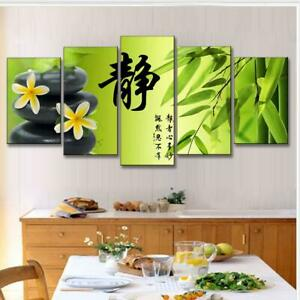 Chinese words Bamboo Black Stone 5 Pcs Canvas Wall Art Paint Poster Home Decor