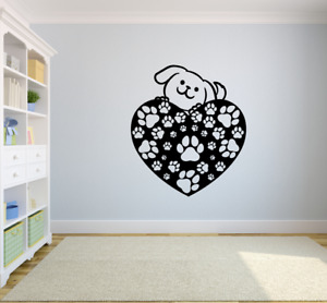 Cute Dog Hearts Dogs Animals Animal Wall Art Stickers for Kids Home Room Decals