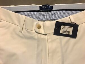 Mens NWT PETER MILLAR Ivory SZ 32x30 Golf Pants Crown Crafted Stealth Flat Front