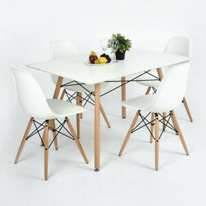 5 Piece Dining Table Set White Wood and 4 Chairs Kitchen Dining Room Furniture