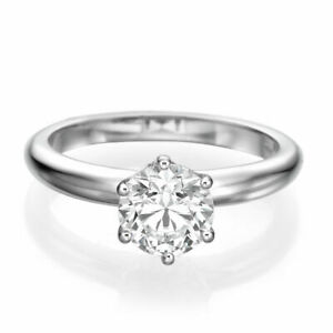 Round Elegant Natural Diamond Engagement Ring 18K White Gold 0.40 CT F-GSI2