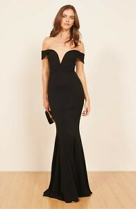 REFORMATION Black Bali Plunging Neck Off Shoulder Bombshell Maxi Dress Gown 4 S