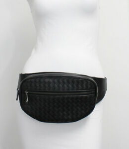 Bottega Veneta Authentic  Black Intreccaciato Leather Belt Bag Fanny Pack