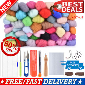 50 Colors Wool Soft Fibre Roving Set Needle Felting Kit Hand Craft Spinning DIY $18.01