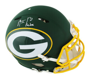 Aaron Rodgers Signed Green Bay Packers Speed AMP Authentic NFL Helmet - Relax