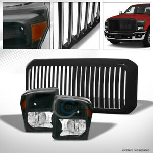 BLACK HEAD LIGHTS AMBER DY+VERTICAL GRILL GRILLE 11-16 FORD F250F350 SUPERDUTY