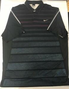 Nike Tiger Woods Collection Dri-Fit Golf Shirt Polo XXL 2XL Black Purple Striped
