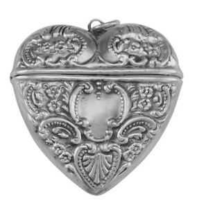 Victorian Style Sterling Silver Heart Locket Box Pendant Large $52.99