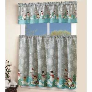 3 PC KITCHEN CURTAIN CHRISTMAS DESIGN ROD POCKET DRAPES NORTH POLE 54'' WIDE