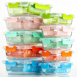 [10-Pack] Glass Food Storage Containers with Lid Storage Set Lunch Boxes