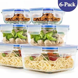 [ 6-Pack ] Glass Container for Food Storage with Airtight Lids, BPA Free