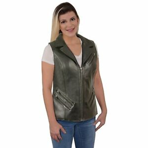 Milwaukee Leather Ladies Long Zipper Front Vest with Lapel