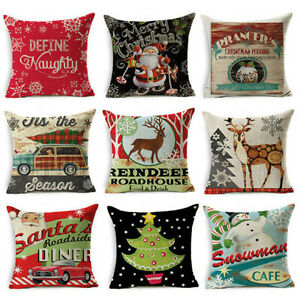 Home Cover S y Throw Christmas Cotton Pillow Cushion Linen Decor Case $3.15