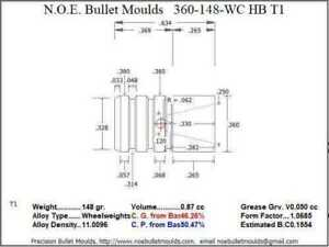 Bullet Mold 4 Cavity Brass .360 caliber Hollow Base 148 Grains bullet with a Wa