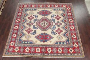 IVORY Geometric 10 ft SQUARE Super Kazak Oriental Area Rug Wool South-western