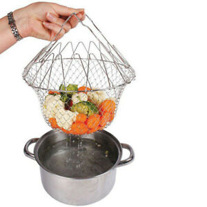 Foldable Food Basket Mesh Strainer Net Colander Cooking Tool For Rinsing Frying