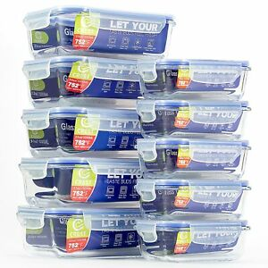 [10-Pack] Glass Container with Airtight Lids for Food Storage - Lunch Containers