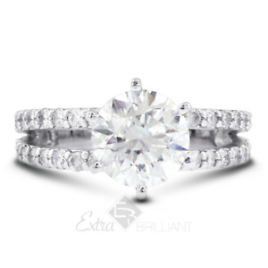 5.86ct E/SI1 Round Earth Mined Certified Diamonds 14k White Gold Side-Stone Ring