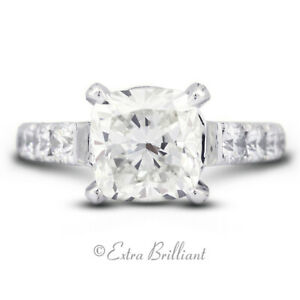 8.67ct I VS2 Radiant Natural Certified Diamonds 18k White Gold Side-Stone Ring