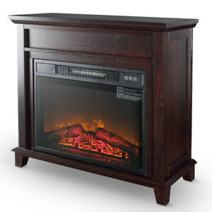 Electric Fireplace Push Button Control Logs Stove Heater 32-Inch, Wood Finish
